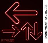 neon contour arrows set. vector ... | Shutterstock .eps vector #552587311