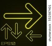 neon contour arrows set. vector ... | Shutterstock .eps vector #552587401