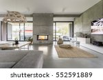 Spacious villa interior with...