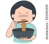 vector set of man eat noodle | Shutterstock .eps vector #552592339