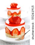 strawberry cake on a white... | Shutterstock . vector #55261915