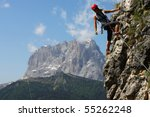 young woman climbing in the... | Shutterstock . vector #55262248