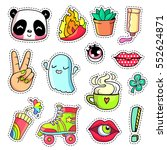 cool stickers set in 80s 90s... | Shutterstock .eps vector #552624871