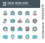 line icons set. flat thin... | Shutterstock .eps vector #552643279