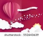 love Invitation card Valentine's day balloon heart on abstract background with text i love you and young joyful,clouds,sun,paper cut mini heart. Vector illustration. | Shutterstock vector #552643639