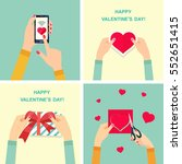 happy valentines day. woman's... | Shutterstock .eps vector #552651415