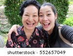 selfie senior woman with... | Shutterstock . vector #552657049
