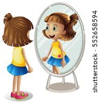 girl looking at herself in the... | Shutterstock .eps vector #552658594