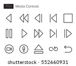 media controls line vector... | Shutterstock .eps vector #552660931