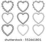 vector set of floral heart... | Shutterstock .eps vector #552661801