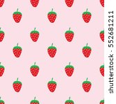seamless cute strawberry... | Shutterstock .eps vector #552681211