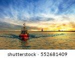 pilot boat return to port at... | Shutterstock . vector #552681409