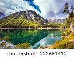 magnificent lake lago di braies.... | Shutterstock . vector #552681415