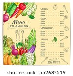 vegetarian restaurant menu....   Shutterstock .eps vector #552682519