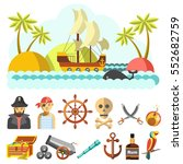 set of piratical icons and... | Shutterstock .eps vector #552682759