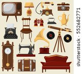 set of vintage home furniture... | Shutterstock .eps vector #552682771