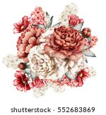 red peonies and hyacinth.... | Shutterstock . vector #552683869