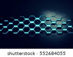 glowing blue hexagon pattern... | Shutterstock . vector #552684055