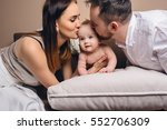 happy family opening gifts for ... | Shutterstock . vector #552706309