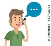 man talk mobile phone social... | Shutterstock .eps vector #552710785