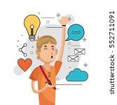cheerful boy listen music... | Shutterstock .eps vector #552711091