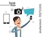 man social media camera bubble... | Shutterstock .eps vector #552711241