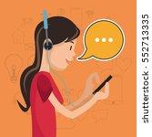 girl mobile headphones chat... | Shutterstock .eps vector #552713335