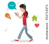 girl user smartphone headphone... | Shutterstock .eps vector #552713371