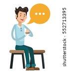 man sit message chatting social ... | Shutterstock .eps vector #552713395