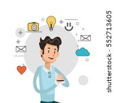 man smartphone information... | Shutterstock .eps vector #552713605