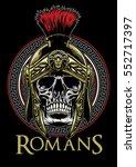 skull of roman warrior   Shutterstock .eps vector #552717397