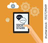 hand hold tablet social network ... | Shutterstock .eps vector #552729049