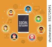 smartphone social network... | Shutterstock .eps vector #552729091