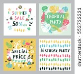 summer cards set. | Shutterstock .eps vector #552733231