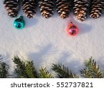 fir branch and cones lie on the ... | Shutterstock . vector #552737821