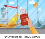 man with passport and boarding... | Shutterstock .eps vector #552738901