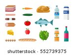 grocery set. including meat... | Shutterstock .eps vector #552739375