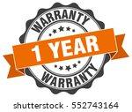 1 year warranty. stamp. sticker.... | Shutterstock .eps vector #552743164