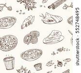 vector hand drawn set of indian ... | Shutterstock .eps vector #552748495