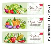 fresh vegetables banners.... | Shutterstock .eps vector #552749785