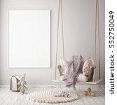 mock up poster frame in... | Shutterstock . vector #552750049