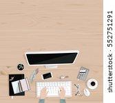desktop with notebooks  mobile  ... | Shutterstock .eps vector #552751291