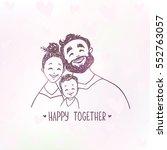 cute doodle of happy family.... | Shutterstock .eps vector #552763057