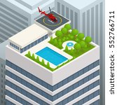 isometric helipad on the green... | Shutterstock .eps vector #552766711