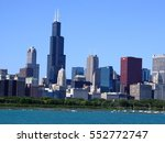 10th October 2016, Skyscrapers and Lake Michigan, Chicago, USA - stock photo