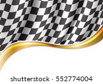 checkered flag flying and gold... | Shutterstock .eps vector #552774004