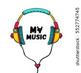 hand drawn comic headphones... | Shutterstock .eps vector #552774745
