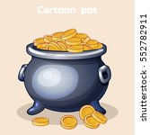 vector cartoon metal pot filled ...
