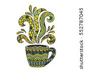 coffee mug or tea cup with... | Shutterstock .eps vector #552787045