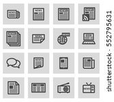 vector line news icons set on... | Shutterstock .eps vector #552795631